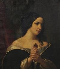 portrait de femme tenant un médaillon by jules (jean-françois-hyacinthe) laure