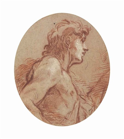 saint john the baptist, half-length, in profile facing to the right by françois boucher