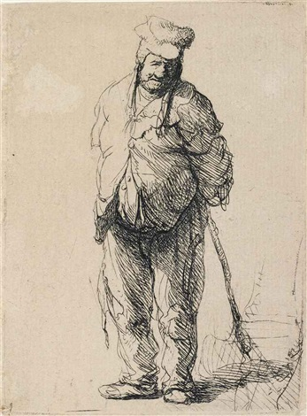 a ragged peasant with his hands behind him holding a stick by rembrandt van rijn