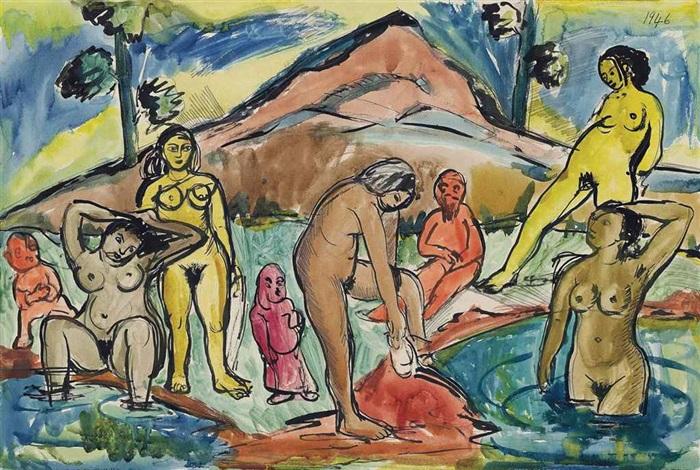 untitled bathers by francis newton souza