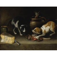 a dog and a cat fighting for meat by alejandro de loarte
