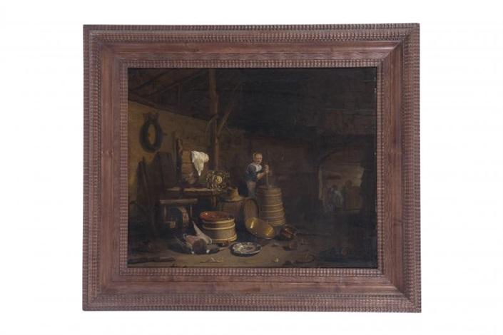 le barattage du beurre dans un intérieur de cuisine by egbert lievensz van der poel