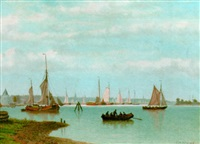 sailing vessels near a town by johannes jacobus antonius hilverdink