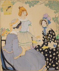 three young women on veranda by gertudre alice kay
