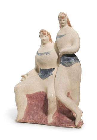 two female figures seated and standing by elie nadelman