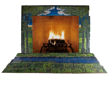 Unique And Important Glazed Ceramic Fireplace Surround Decorated In Cuerda Seca Depicting Wooded Landscape With