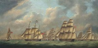 an english frigate escorting a large international merchant convoy by robert dodd