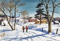 figures walking in snow by ranulph bye