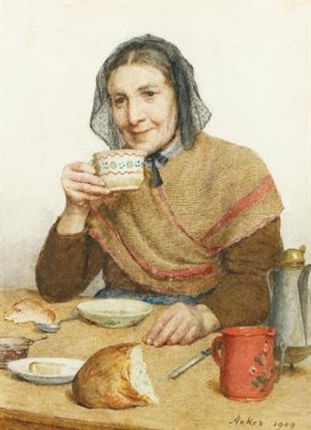 sitzende bäuerin mit tasse in der hand sitting peasant woman holding a cup in her hand by albert anker