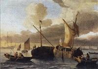 schepen op rustige zee nabij de kust by hendrik rietschoof