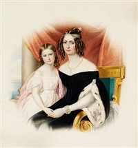 portrait of empress amélie-auguste-eugenie-napoleone of brazil with her daughter marie-amélie-auguste by franz xaver nachtmann