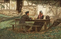 meeting under the apple tree, normandy by william john hennessy