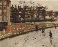 building site at the corner of raadhuisstraat and keizersgracht, amsterdam by george hendrik breitner