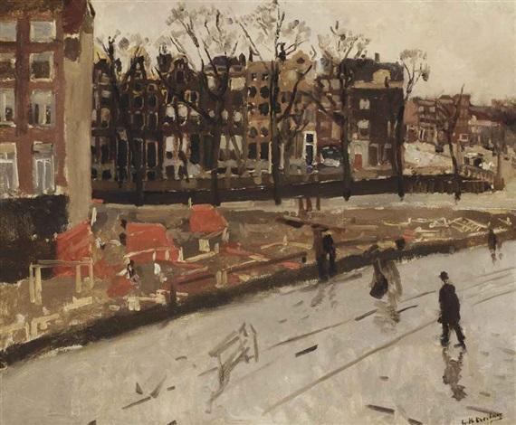 building site at the corner of raadhuisstraat and keizersgracht amsterdam by george hendrik breitner