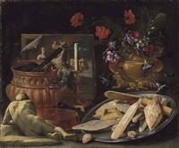 an allegory of the five senses: roses, carnations, orange blossoms and morning glory in a sculpted vase, with pastries - panetti, pane cafone... by giuseppe recco