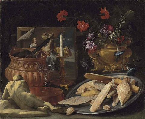 an allegory of the five senses roses carnations orange blossoms and morning glory in a sculpted vase with pastries panetti pane cafone by giuseppe recco