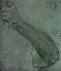 etude de bras et de main tenant une corde by orazio fidani