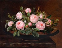 pink roses in a greek bowl on a sill by hansine kern-eckersberg