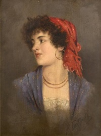 portrait of a gypsy beauty by viktor alekseevich bobrov