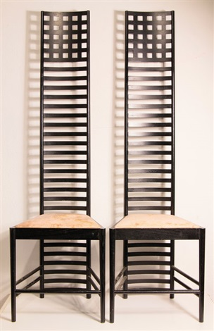 paar hillhouse chairs 1, mod. 292 (pair) by charles rennie mackintosh