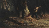 woodcutter in the forest and young woman taking linens from a shelf (double-sided) by jean françois millet
