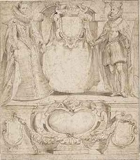 the archduke albert and infanta isabella, governors of the netherlands: design for the title page of the 'gelresche rechten' ('rights of the province of gelderland') (recto); the same composition traced through in reverse (verso) by sir peter paul rubens