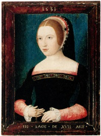 portrait of a young woman holding a chain by master of the magdalen legend