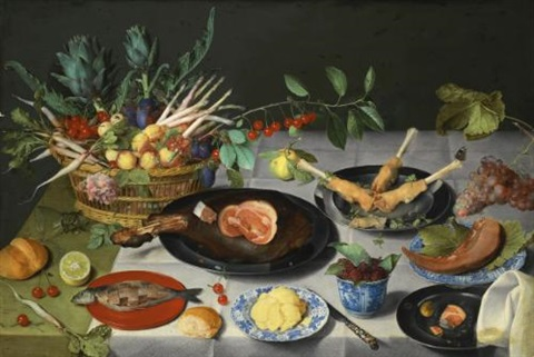 a still life with artichokes radishes asparagus plums cherries and peaches in a basket by jacob van hulsdonck
