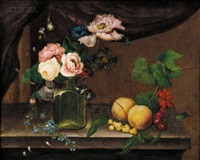 still life with fruit and flowers by william (quaker) pegg