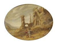 a rocky landscape with tobias and the angel near ancient ruins by rombout van troyen