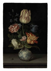 tulips, a rose, carnation, columbine, cyclamen, and creeping bellflower in a wan-li vase on a ledge with a fly by johannes van der ast