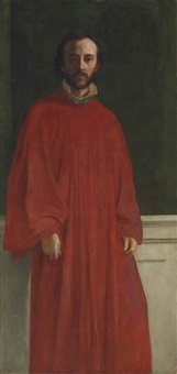 self-portrait, three-quarter length, wearing a red robe by george frederick watts