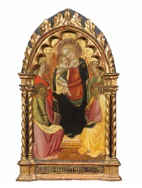 madonna con bambino tra san paolo, santa caterina d'alessandria, san pietro e santa margherita by lippo d'andrea (ambrogio di baldese)