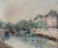 la seine, le pont neuf, le quai des orfèvres, vus de la rive droite by joseph louis lépine