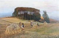 harvest scenery with trees in the background by thorvald simeon niss