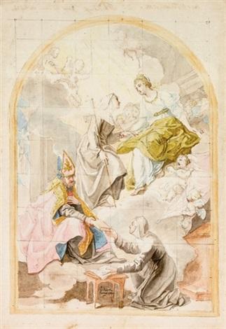 santorsola la beata angela e santagostino che dà la regola a una religiosa by laurent pécheux