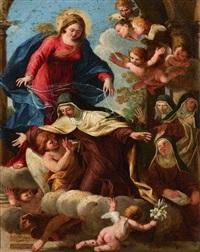la vierge et sainte claire entourées d'anges by francesco albani