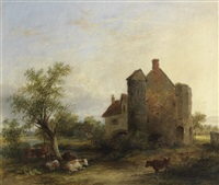 cattle resting by a manor house by james stark