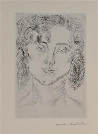 femme en buste frontispice pour cinquante dessins de henri matisse by henri matisse