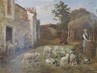 bergère nourissant ses moutons dans une cour de ferme by charles ferdinand ceramano