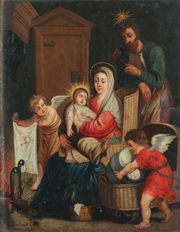 la sainte famille se réchauffant près de lâtre avec deux anges sapprêtant à coucher lenfant jésus dans un berceau en osier by erasmus quellinus the younger