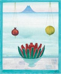 pastèque, grenade et figue devant la mer (+ jarres et jasmin devant le minaret; 2 works) by jellal ben abdallah