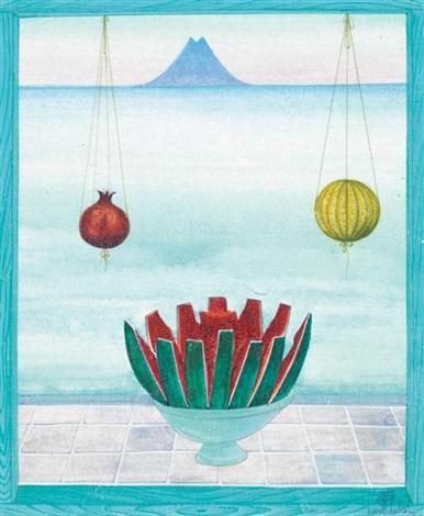 pastèque grenade et figue devant la mer jarres et jasmin devant le minaret 2 works by jellal ben abdallah