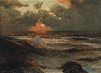 red sky at night by julius olsson
