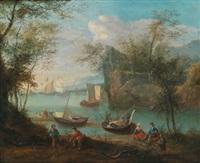 gebirgige flusslandschaft mit booten und figuren by robert griffier