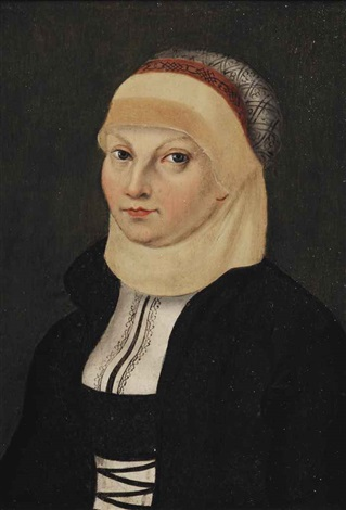 portrait of katharina von bora 1499 1552 die lutherin martin luthers wife half length in a black and white dress and a head garment by lucas cranach the elder