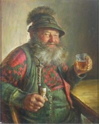 man in bavarian costume, tavern scene by hrvoj melkus