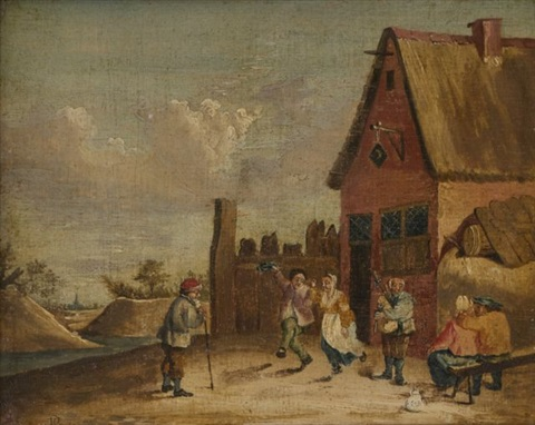 village scene with revellers by david teniers the younger