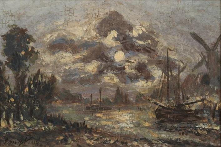 clair de lune sur le canal à dordrecht by johan barthold jongkind