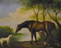 brown horse with white dog by bates